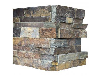 Kamenný obklad roh, multicolor břidlice, tloušťka 2-3cm, BL005ROH