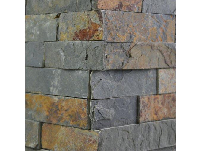 Kamenný obklad roh, multicolor břidlice, toušťka 1,5-2,5cm, BL003ROH