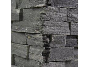 Kamenný obklad roh, černá břidlice, toušťka 2-3cm, BL002ROH